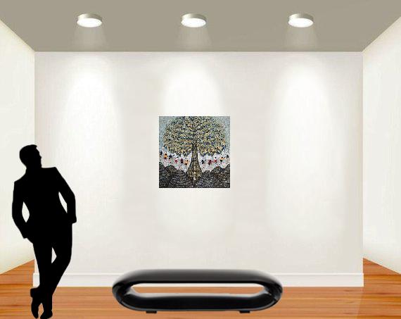 Tableau acrylique sur toile : Big tree par l'artiste peintre I Ketut Ada