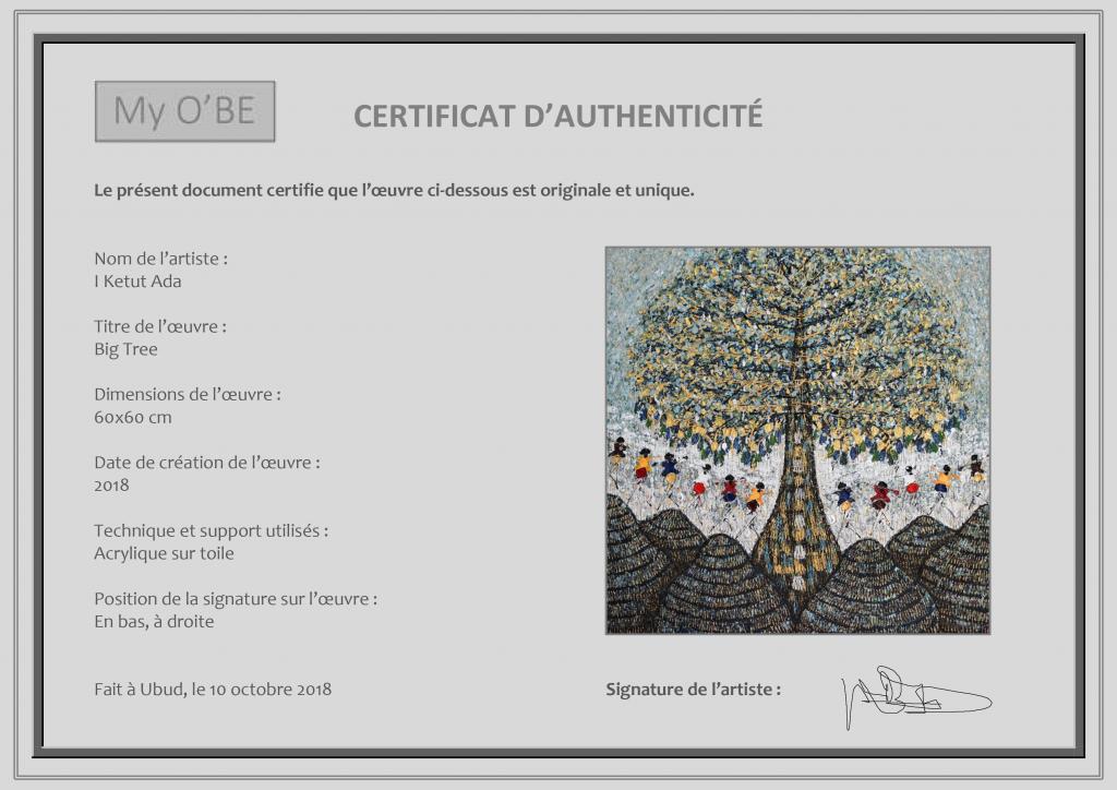 Certificat d'authenticité My O'BE siganture œuvres d'art ...