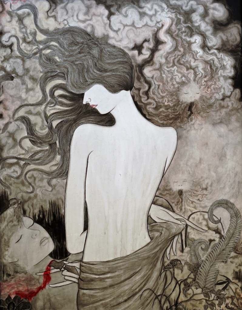Tableau acrylique et encre de chine sur toile : Disgusted par l'artiste peintre Satya Cipta