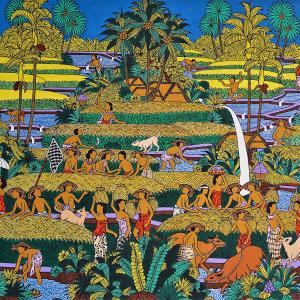 Tableau acrylique sur toile : Panen Padi (récolte du riz) par l'artiste peintre Tagen