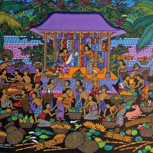 Tableau acrylique sur toile : Pasar du Ubud (marché d'Ubud) par l'artiste peintre Tagen
