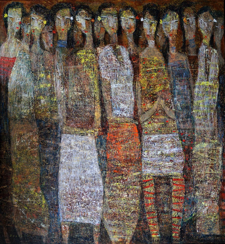 Tableau acrylique sur toile : Celebration day par l'artiste peintre I Dewa Made Sugita à découvrir sur le site my-obe.com