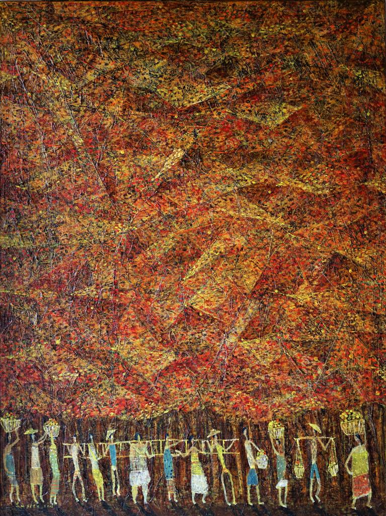 Tableau acrylique sur toile : Ensemble par l'artiste peintre I Dewa Made Sugita
