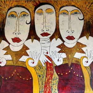 Tableau acrylique sur toile : Les trois drôles de Dames par un artiste peintre balinais