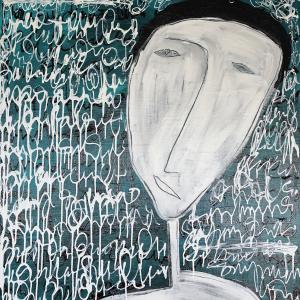 Tableau acrylique sur toile : Perplexité par un artiste peintre balinais