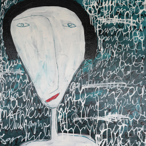 Tableau acrylique sur toile : Réflexion par un artiste peintre balinais