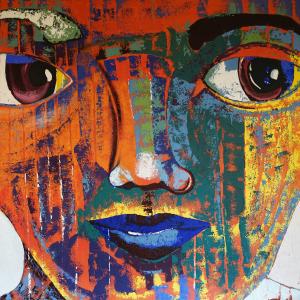 Tableau acrylique sur toile : Regard par un artiste peintre balinais