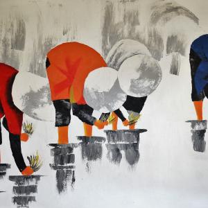 Tableau acrylique sur toile : Rizière par un artiste balinais
