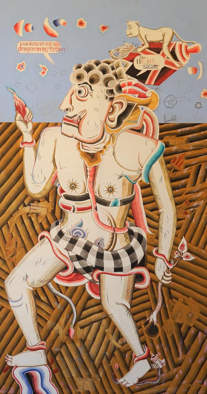 Tableau acrylique sur toile : Confused giant par l'artiste peintre Teja Astawa
