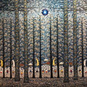 Tableau acrylique sur toile : Tree of life par l'artiste peintre I Ketut Ada