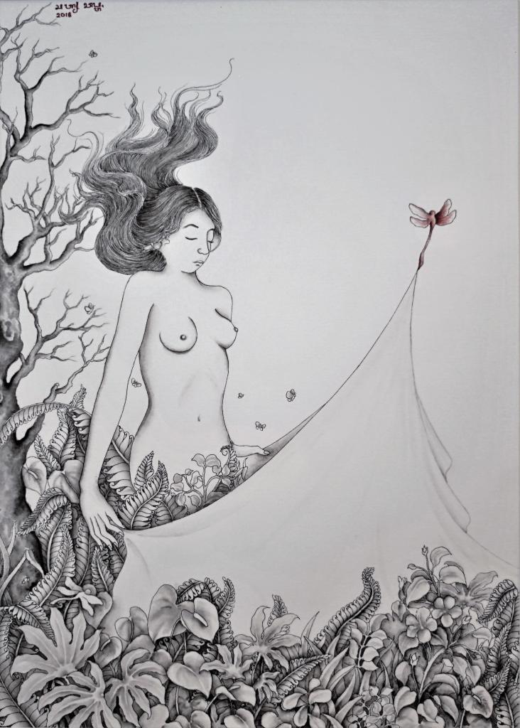 Encre de chine sur papier pressé à froid : Undress par l'artiste peintre Satya Cipta