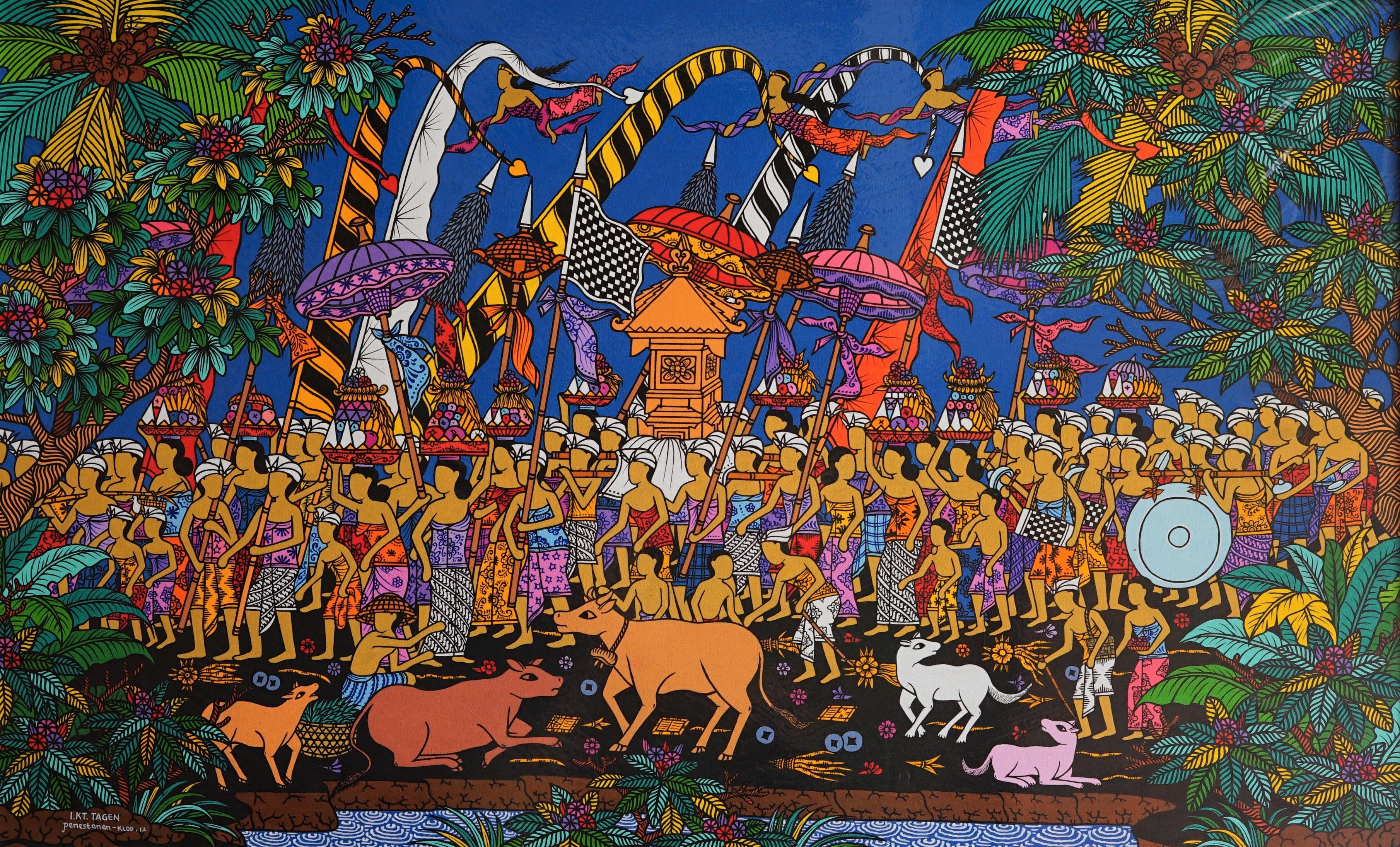 Tableau acrylique sur toile : Upacara (cérémonie) par l'artiste peintre Tagen