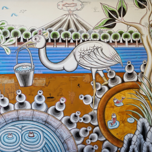 Tableau acrylique sur toile : White bird par l'artiste peintre Teja Astawa