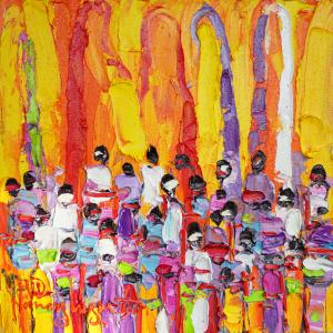 Tableau acrylique sur toile : Solaire par l'artiste peintre Nanang Lugonto