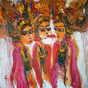 Tableau acrylique sur toile : Danse de l'Amour par l'artiste peintre Nanang Lugonto