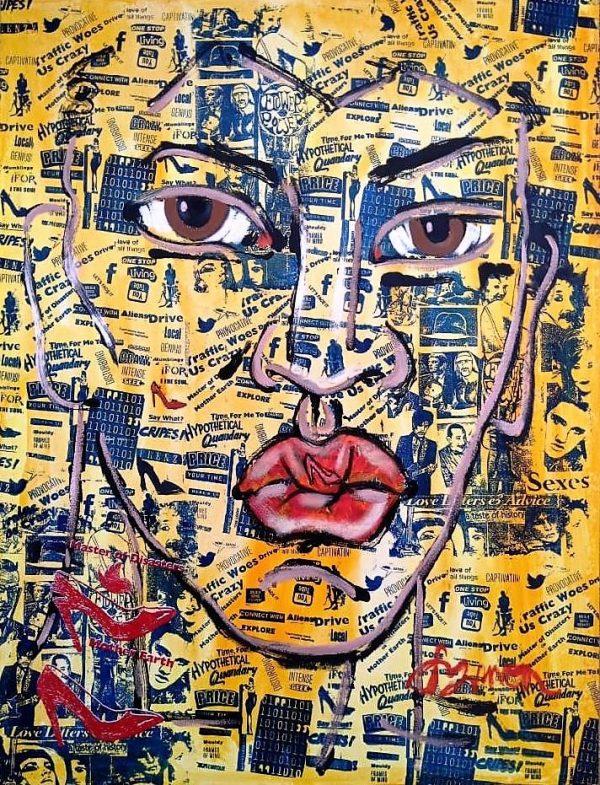 Tableau acrylique sur toile : Red Spike Boy par l'artiste peintre Symon
