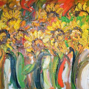 Tableau acrylique sur toile : Sun flowers par l'artiste peintre Nanang Lugonto